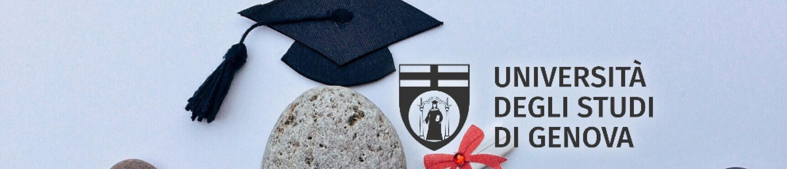 Foto di sassi di mare con sopra un cappello da laurea e la scritta università degli studi di Genova