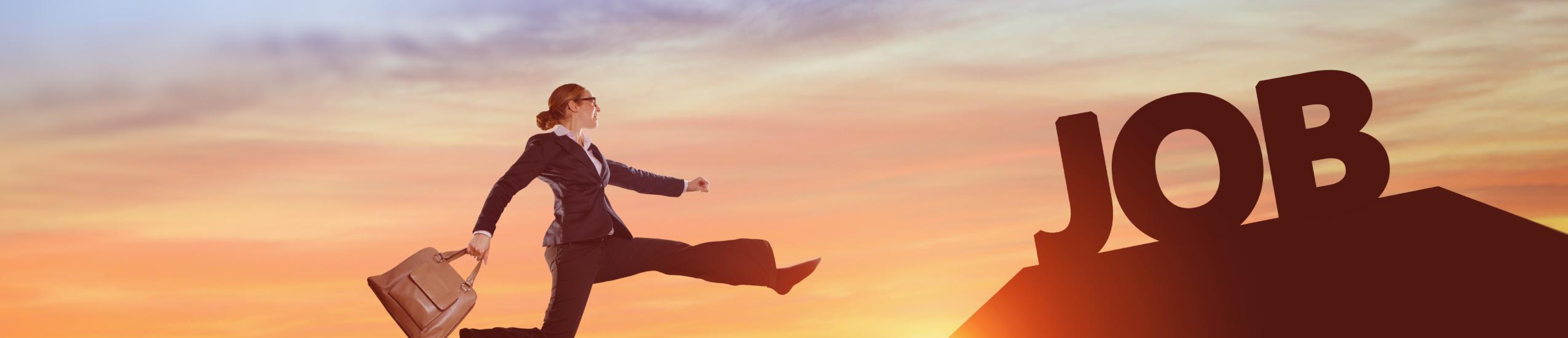 Disegno di una donna che salta tra due monti in direzione della parola lavoro