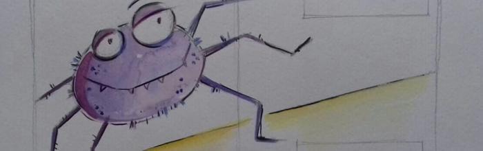 """Fiaba """"Il ragno e la farfalla""""- Bozzetto di Fiamma Capitelli - Illustrazione tav. 5"""