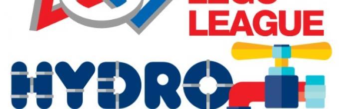 Locandina con la scritta First lego league hydro dynamics