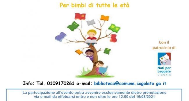 """COGOLETO, Biblioteca civica """"E. Firpo"""": Letture nel Parco di Villa Nasturzio, martedì 17 agosto 2021, ore 17"""