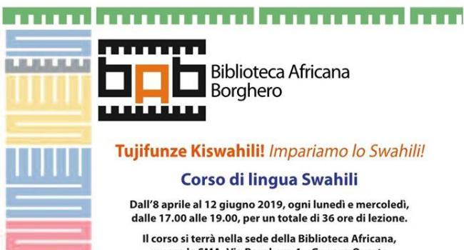 CORSO DI LINGUA SWAHILI - Genova, Biblioteca Africana Borghero - dall' 08/04 al 12/06/2019