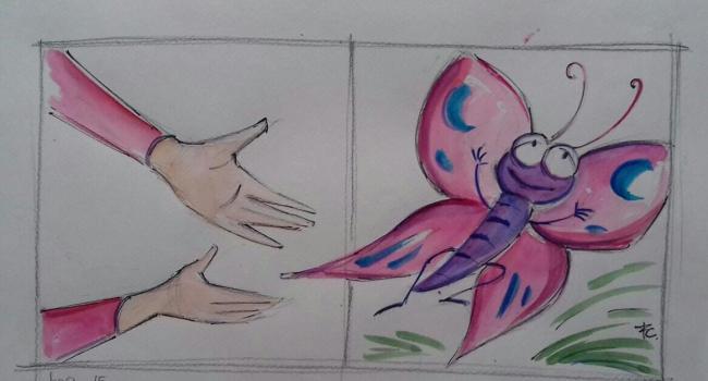 """Fiaba """"Il ragno e la farfalla""""- Bozzetto di Fiamma Capitelli - Illustrazione tav. 8"""