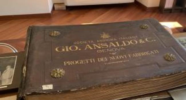 Libro storico di progetti della società Ansaldo