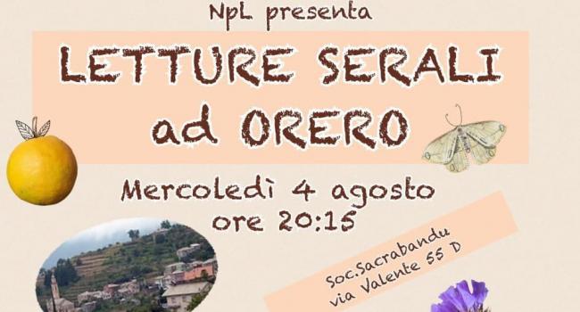 LETTURE SERALI AD ORERO, 4 agosto ore 20.15 - Incontro NpL Liguria per bambini e genitori
