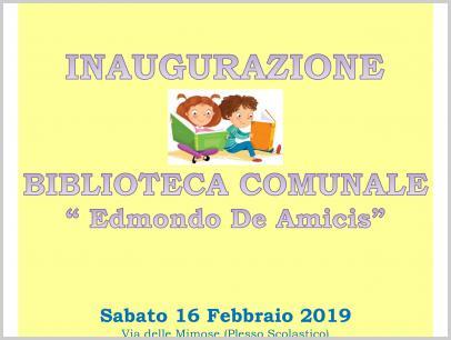 Locandina Inaugurazione Biblioteca sabato 16 febbraio 2019